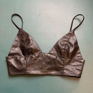 Forever 21 Faux Leather Triangle Bralette - L